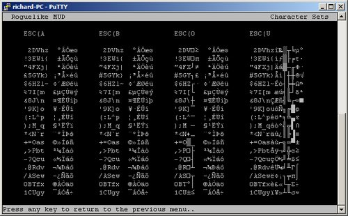 Screenshot of non antialiased character sets enumerated in Putty
