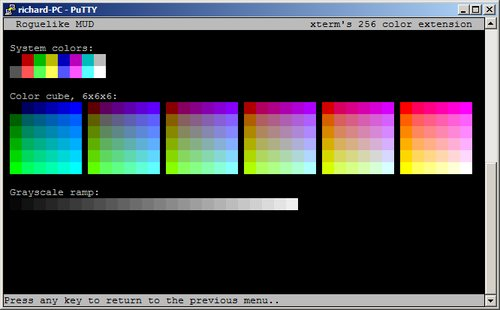 Screenshot of the 256 colours displayed in Putty
